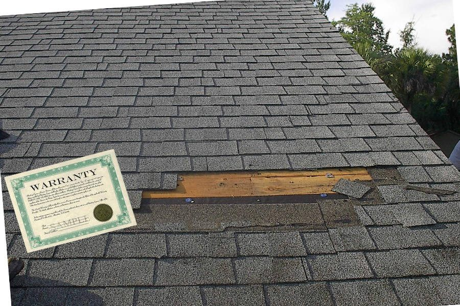 roofing warranty sample on shingle roof